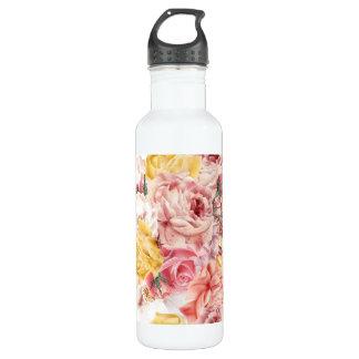Vintage spring floral bouquet grunge pattern 710 ml water bottle