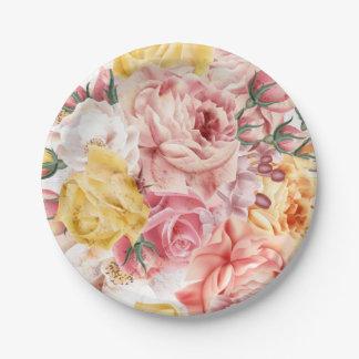 Vintage spring floral bouquet grunge pattern 7 inch paper plate