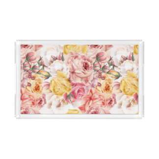 Vintage spring floral bouquet grunge pattern acrylic tray