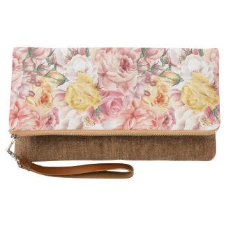 Vintage spring floral bouquet grunge pattern clutch