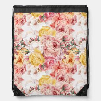 Vintage spring floral bouquet grunge pattern drawstring bag