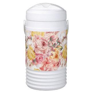 Vintage spring floral bouquet grunge pattern drinks cooler