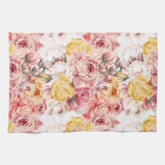 Vintage spring floral bouquet grunge pattern kitchen towel