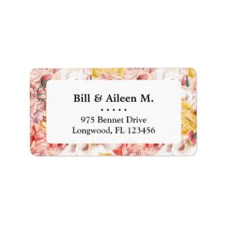 Vintage spring floral bouquet grunge pattern label
