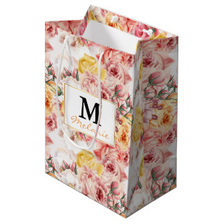 Vintage spring floral bouquet grunge pattern medium gift bag