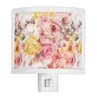 Vintage spring floral bouquet grunge pattern night lights