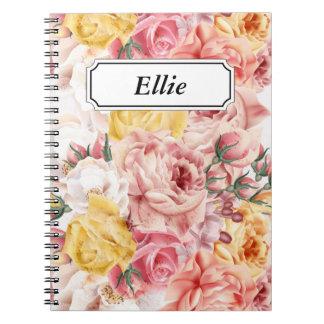 Vintage spring floral bouquet grunge pattern notebook