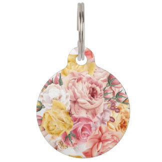 Vintage spring floral bouquet grunge pattern pet name tag