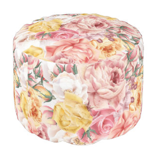 Vintage spring floral bouquet grunge pattern pouf