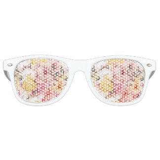 Vintage spring floral bouquet grunge pattern retro sunglasses