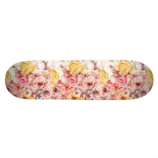 Vintage spring floral bouquet grunge pattern skate decks