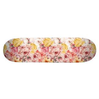 Vintage spring floral bouquet grunge pattern skateboard deck