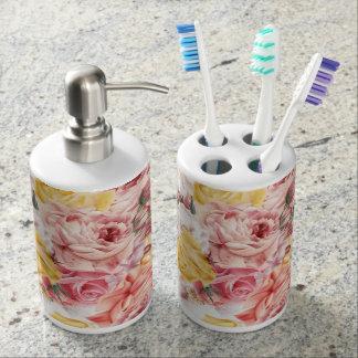 Vintage spring floral bouquet grunge pattern soap dispenser and toothbrush holder
