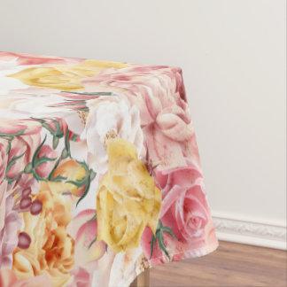 Vintage spring floral bouquet grunge pattern tablecloth