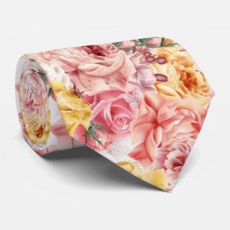Vintage spring floral bouquet grunge pattern tie
