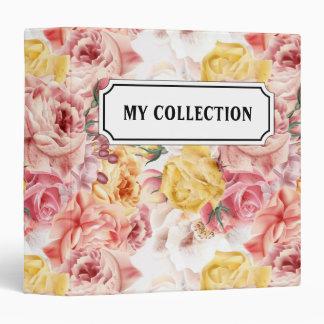 Vintage spring floral bouquet grunge pattern vinyl binder