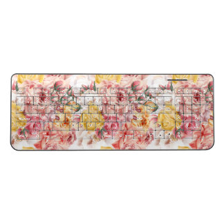 Vintage spring floral bouquet grunge pattern wireless keyboard