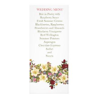 Vintage Spring Floral Wedding Menu Announcements
