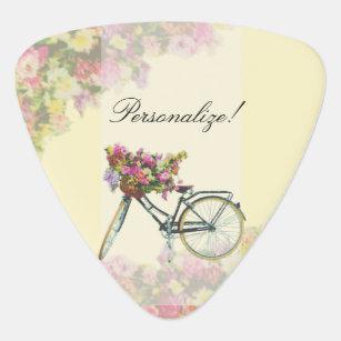 Vintage Spring Flowers Bike Guitar Pick