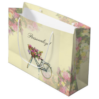 Vintage Spring Flowers Bike Large Gift Bag