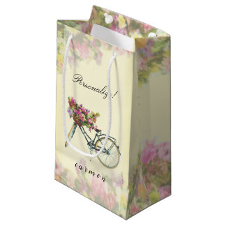 Vintage Spring Flowers Bike Small Gift Bag