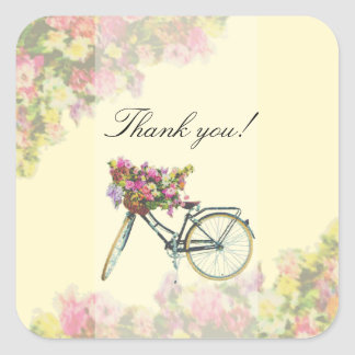 Vintage Spring Flowers Bike Square Sticker