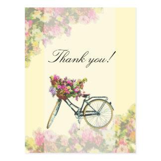 Vintage Spring Flowers Bike Thank You Postcard
