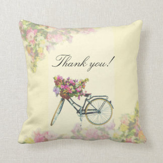 Vintage Spring Flowers Bike Throw Pillow