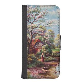 Vintage Spring Landscape, Girl By The Water iPhone SE/5/5s Wallet Case