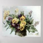 Vintage Spring Pansies Poster