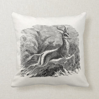 Vintage Springbok Antelope Gazelle Personalized Throw Pillow