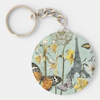 Vintage Springtime in Paris Eiffel Tower keychain