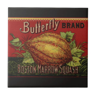 Vintage Squash Label Antique Vegetable Advertising Tile