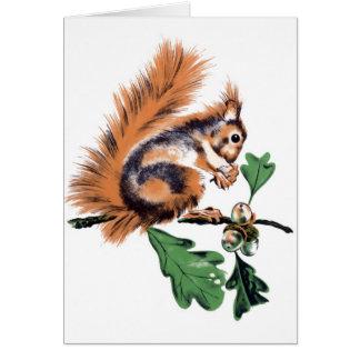 Vintage Squirrel Art Card