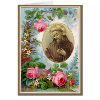 Vintage St. Francis of Assisi with Crucifix Roses Card