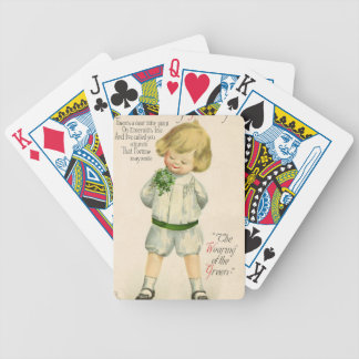 Vintage St Patrick greetings cute little blond boy Bicycle Playing Cards