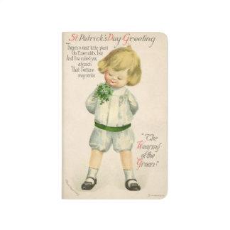 Vintage St Patrick greetings cute little blond boy Journal