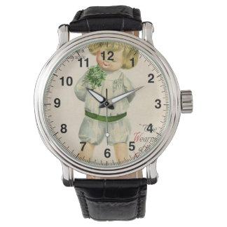 Vintage St Patrick greetings cute little blond boy Wrist Watch