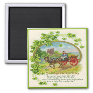 Vintage St Patricks Day 14 Square Magnet