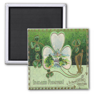 Vintage St Patricks Day 19 Square Magnet