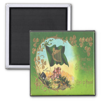 Vintage St Patricks Day 1 Square Magnet