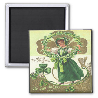 Vintage St Patricks Day 2 Square Magnet