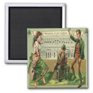 Vintage St Patricks Day 5 Square Magnet