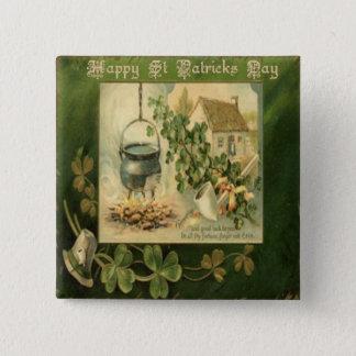 Vintage St Patricks Day 6 2 Inch Square Button
