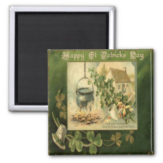 Vintage St Patricks Day 7 Square Magnet