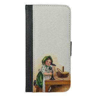 Vintage St. Patrick's Day Cute Irish Girl Basket iPhone 6/6s Plus Wallet Case