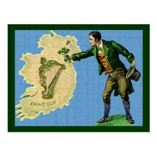 Vintage St. Patrick's Day Erin's Isle Two Postcard