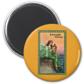 Vintage St. Patrick's Day. Exile of Erin Beach 2 Inch Round Magnet