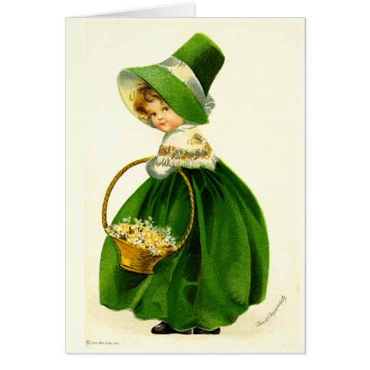 Vintage St. Patrick's Day Girl Card