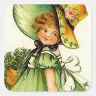 Vintage St. Patrick's Day Girl Square Sticker